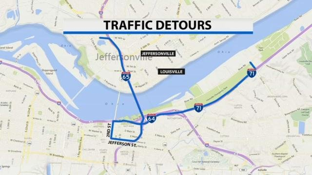 I-65 to downtown streets to access I-64