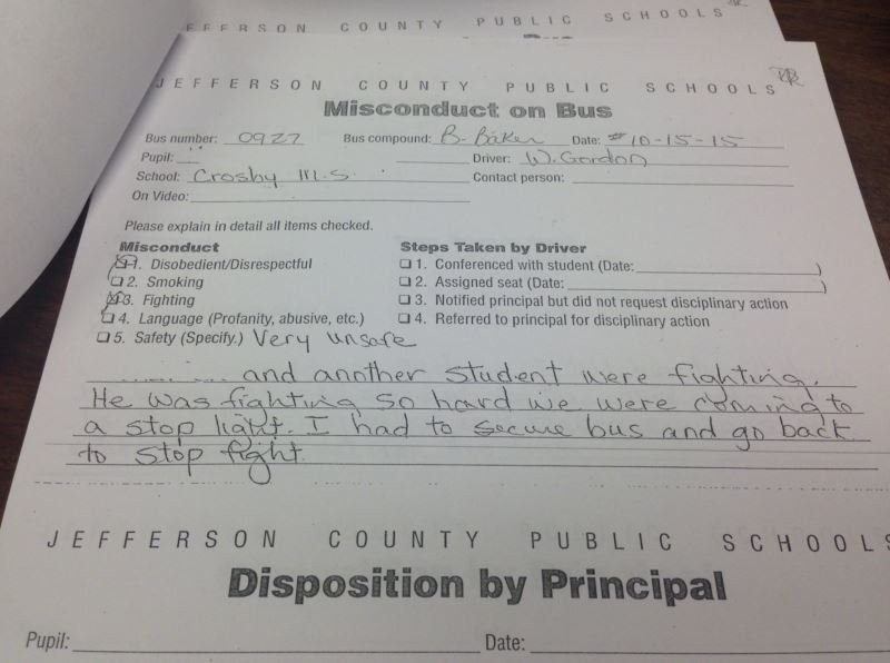 A JCPS bus referral from Oct. 15, 2015 (Source: JCPS)