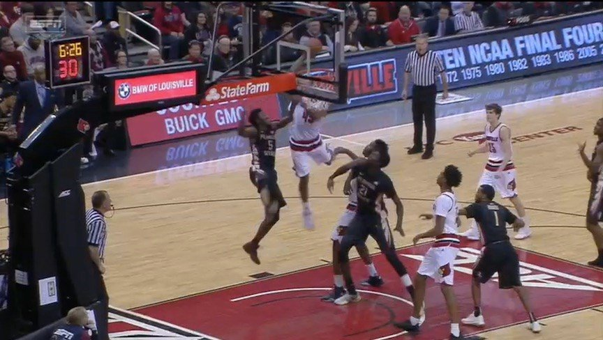 ESPN screen shot of Donovan Mitchell's put-back slam.