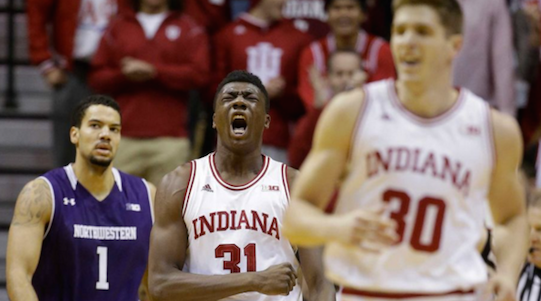 Indiana center Thomas Bryant (31) celebrated the Hoosiers' win over Northwestern Saturday..