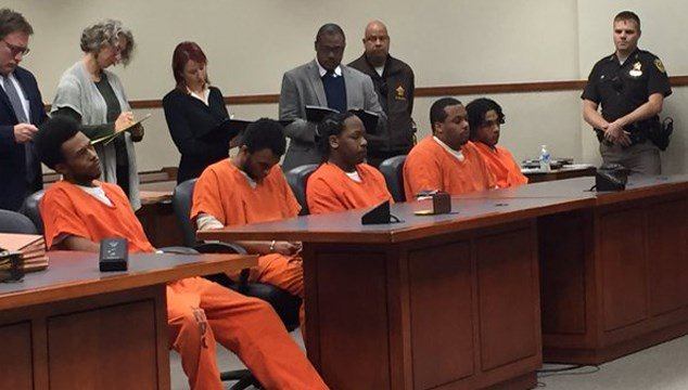 Michael Dunn Jr., William McLemore, Demarkus Tramber, Trey Anderson and Duwan Mason appeared in court together for the first time on Jan. 25, 2016.