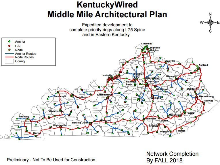 Kentucky Wired broadband map