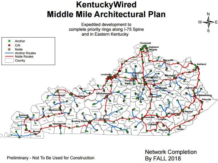 Kentucky Wired broadband map