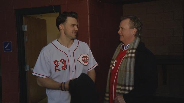 Adam Duvall and Reds broadcaster Jeff Brantley talk at Reds Caravan stop in Louisville