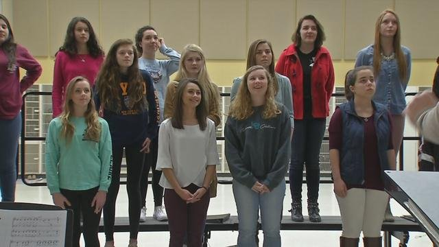 North Oldham High School Choir rehearsing.