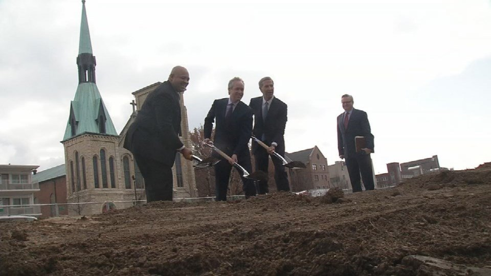 City leaders and Omni officials break ground for the new hotel slated to be finished by the Fall of 2018.