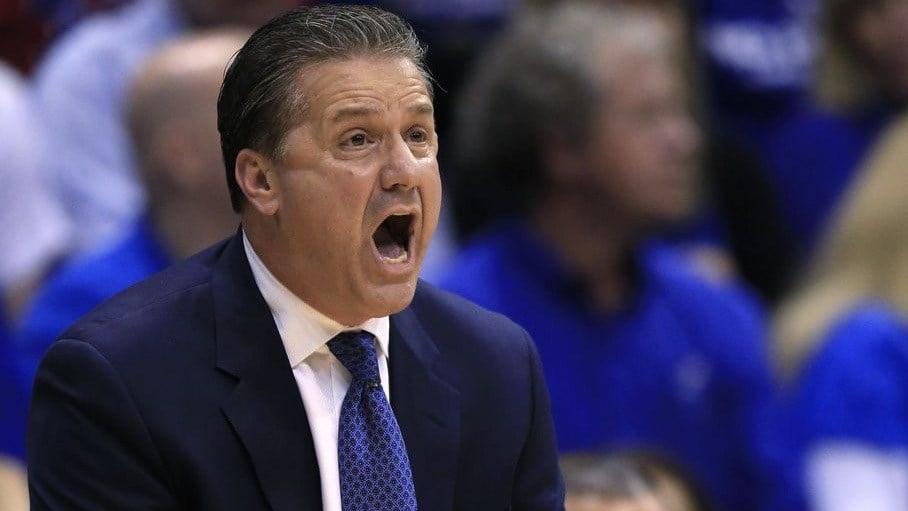 John Calipari shouts instructions during Kentucky's loss at Kansas. (AP photo)
