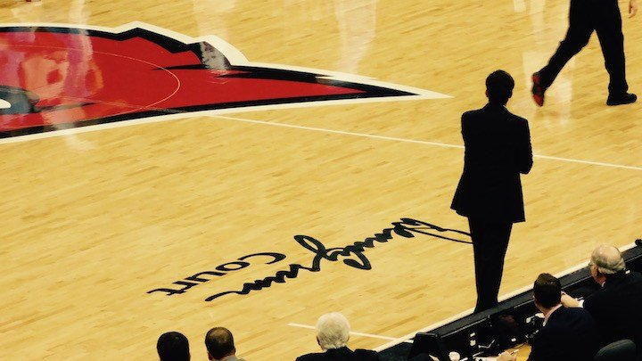 Pitino directs his team in the first half of Monday's win over North Carolina. (WDRB photo by Eric Crawford).