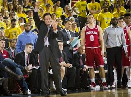 Tom Crean guided Indiana to a 9-1 Big Ten record with a win at Michigan Tuesday. (AP Photo.)