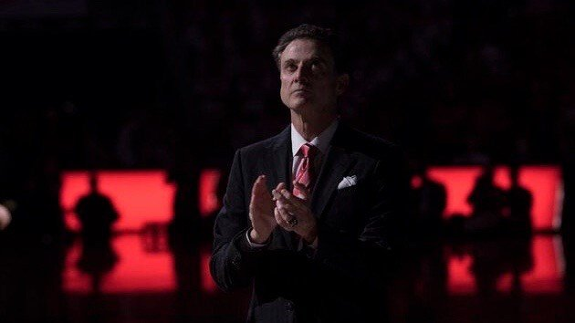 Rick Pitino watches the starting lineups before Monday's win over North Carolina. (WDRB photo by Mike DeZarn)