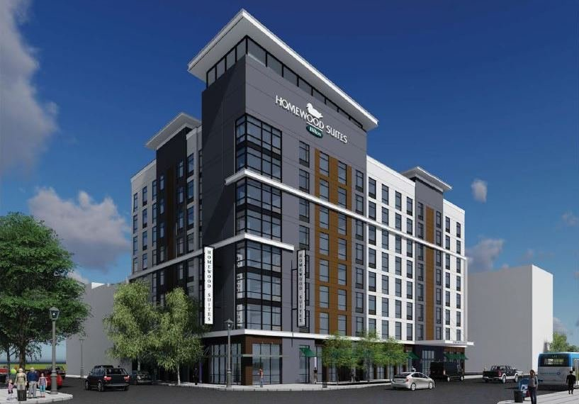 Rendering of Homewood Suites planned at 7th and Market streets in downtown Louisville