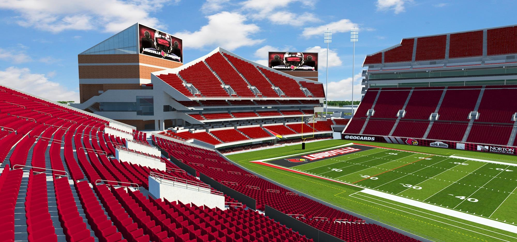 A rendering showing the expanded stadium.