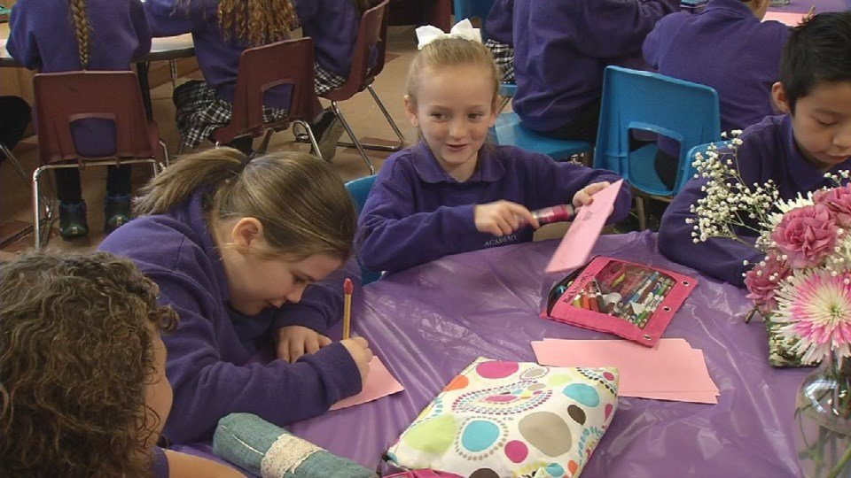 Students at St. Nicholas Academy worked with Rep. John Yarmuth to create Valentine's cards to be delivered to patients at Veterans Hospital.