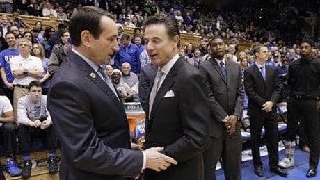 Duke's Mike Krzyzewski and Louisville's Rick Pitino before Monday night's contest. AP photo.