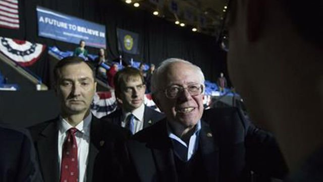 Democratic presidential candidate Sen. Bernie Sanders, I-Vt., smiles as he greats attendees during a campaign stop at the University of New Hampshire Whittemore Center Arena, Monday, Feb. 8, 2016, in Durham, N.H. (AP Photo/John Minchillo)