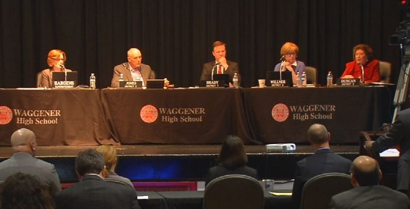 The Jefferson County Board of Education met Tuesday night at Waggener High School (Photo by Toni Konz, WDRB News)
