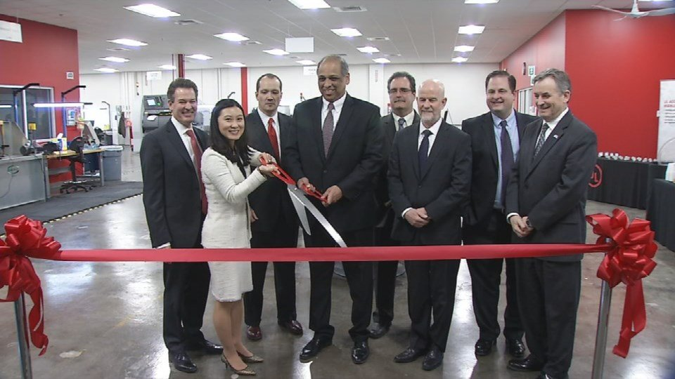 U of L officials cut the ribbon the new training center.