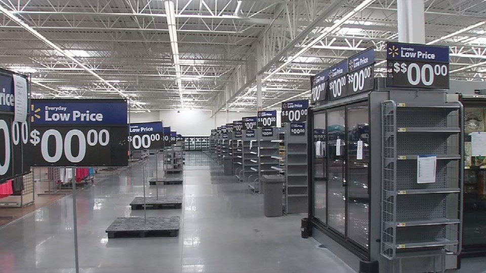 Empty shelves and no one in line, it's not your typical Walmart scene.