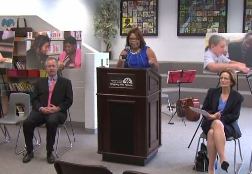 Superintendent Donna Hargens and Louisville Mayor Greg Fischer were among those who participated in a JCPS press conference re-launching the Every 1 Reads program in 2013 (Source: JCPS YouTube channel)