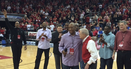 Milt Wagner and Denny Crum addressed the crowd as Louisville honored its 1986 NCAA champs Saturday.