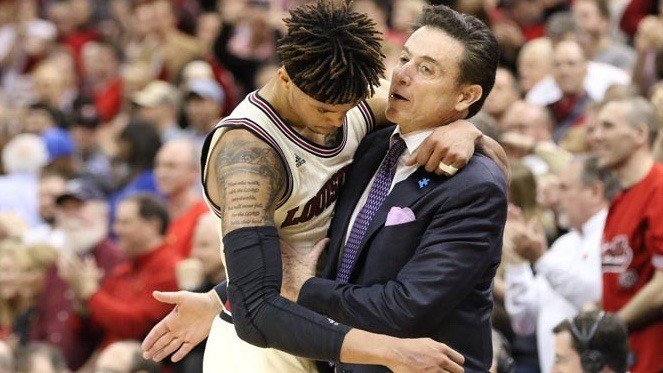Louisville coach Rick Pitino greets Damion Lee after the Cards' victory over Duke. (WDRB photo by Mike DeZarn)