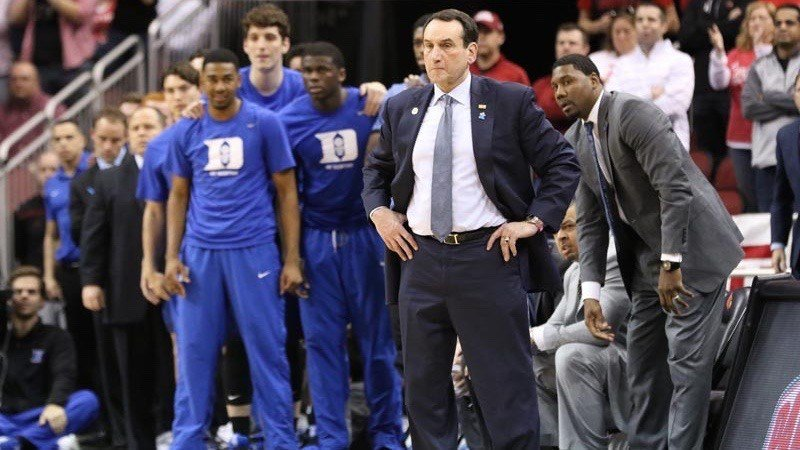 Mike Krzyzewski watches the action late in Louisville's win over Duke. (WDRB photo by Mike DeZarn)