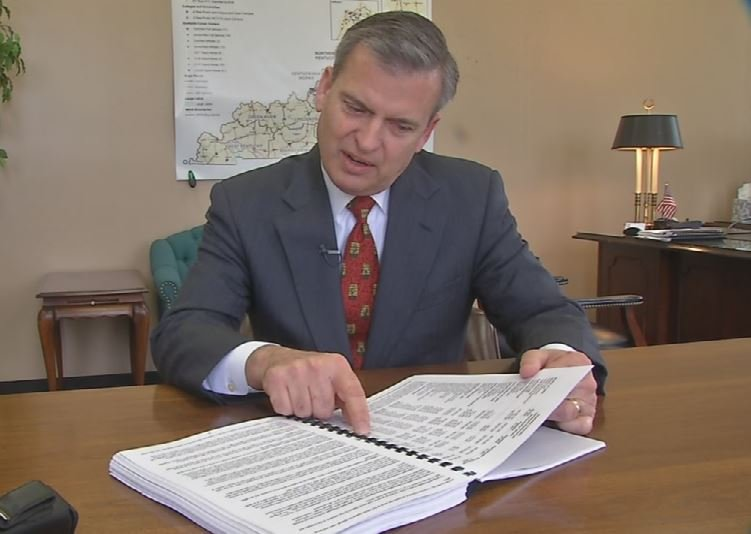 Hal Heiner in his office on Feb. 22, 2016 (WDRB News photo)