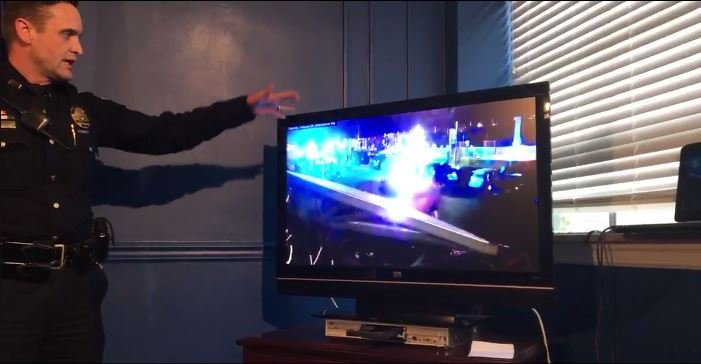 LMPD Sgt. Phil Russell shows surveillance video taken at the Big Four Bridge Saturday night.