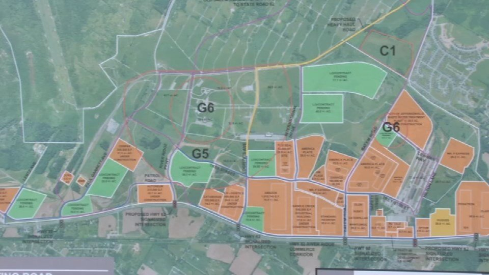 A map of the developments at River Ridge Commerce Center