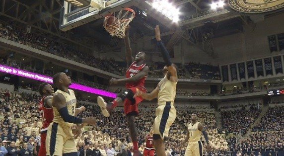 Deng Adel slams home a dunk in U of L's 67-60 win over Pitt