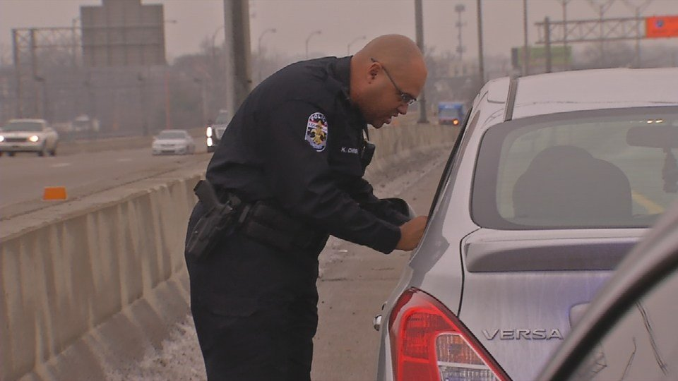 A massive speedtrap sting begins perched on an overpass at the Watterson Expressway where Sgt. Bill Patterson spots vehicles that are speeding and radios down to officers waiting below who pull the driver over and issue the citation.