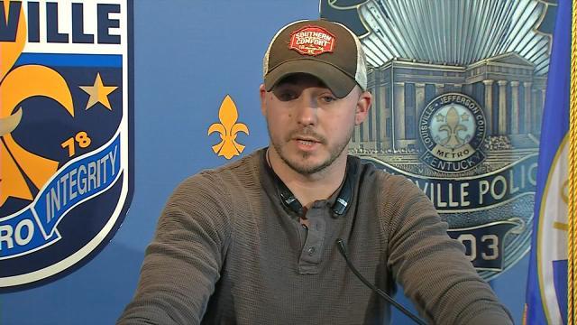 Brad Sutherland addresses reporters at LMPD Headquarters.