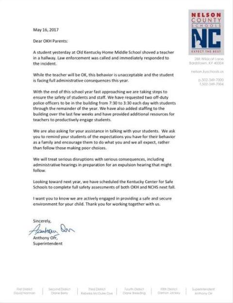 parents letter to teacher