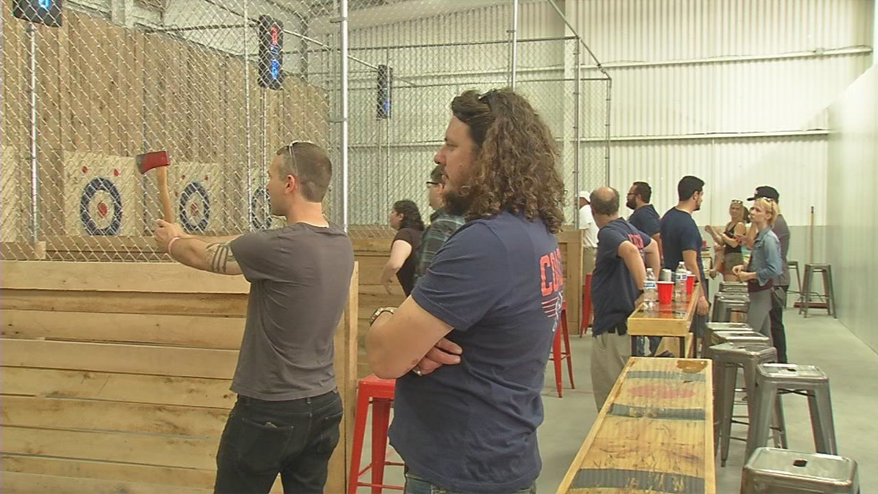 kentucky u0027s first indoor ax throwing venue holds grand opening