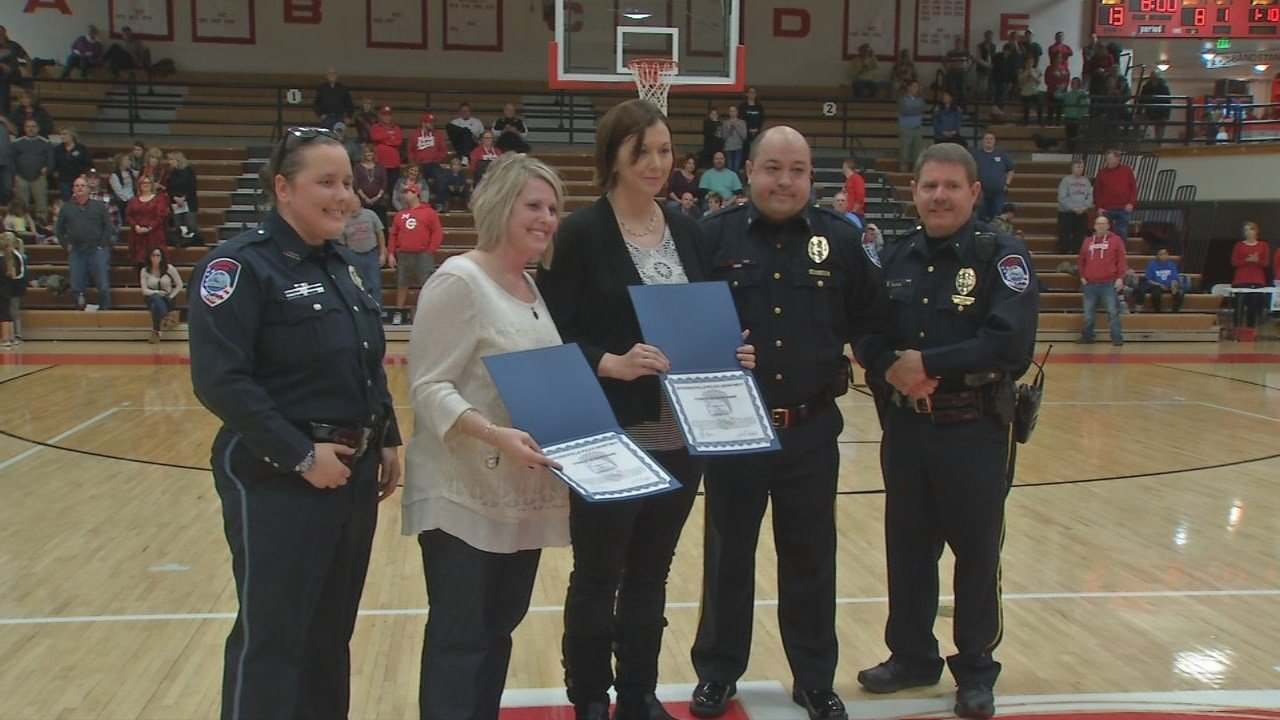 Kristen Mundt and Amanda Kent were presented with Citizens Lifesavers awards Thursday night.