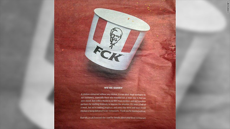 Image result for KFC Says 'FCK' In Full-Page Ad Apologizing For Chicken Shortage