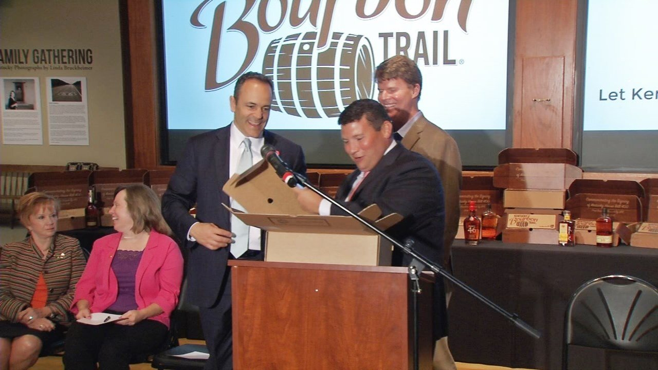 Gov. Matt Bevin ceremonially signed HB 400, which allows shipment of bourbon bought at distilleries, on June 1, 2018.