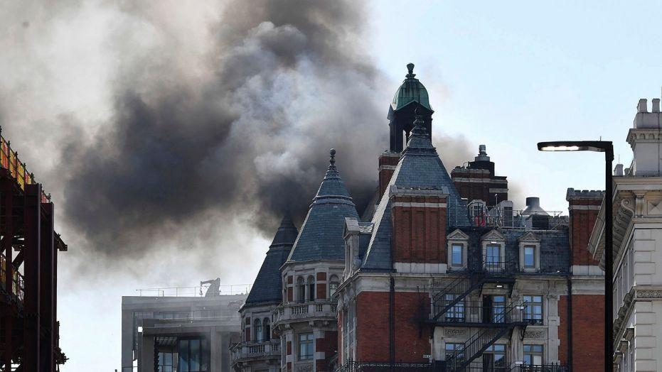 London's Mandarin Oriental Hotel caught fire Wednesday. (Photo courtesy Fox News)