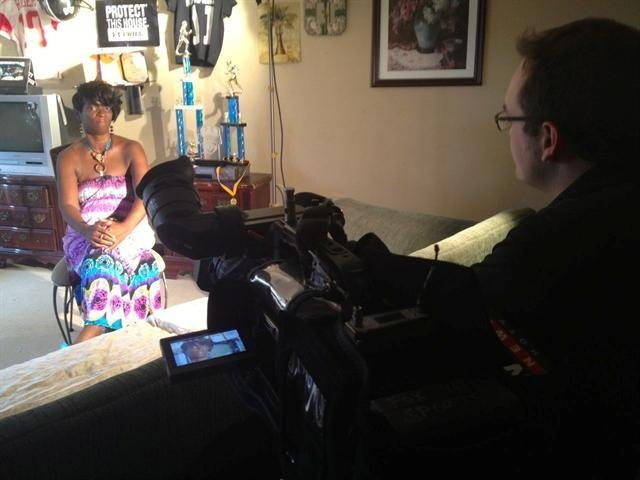 Tranae Jackson speaking with WDRB's Pat Doney