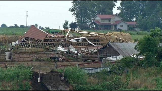 ef2 tornado destroys dairy farm in larue co wdrb 41