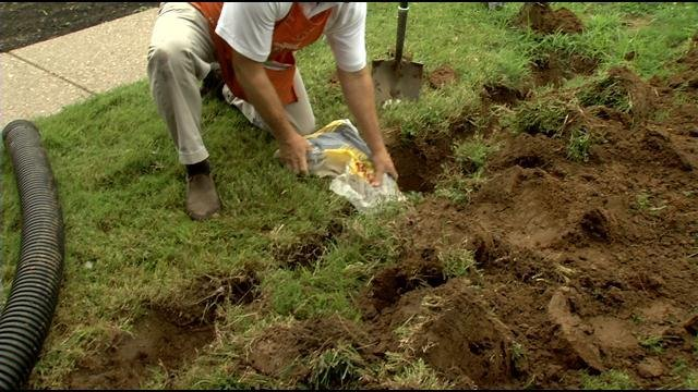 Drainage problem solutions for around your home wdrb 41 for Fix drainage in yard