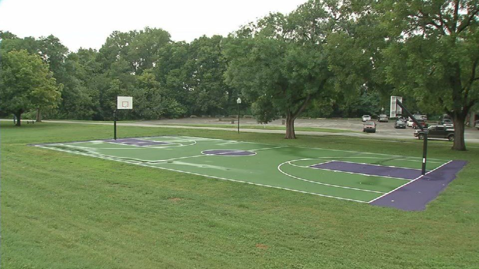 Vandalism ruined chickasaw park 39 s new basketball court for Custom basketball court cost