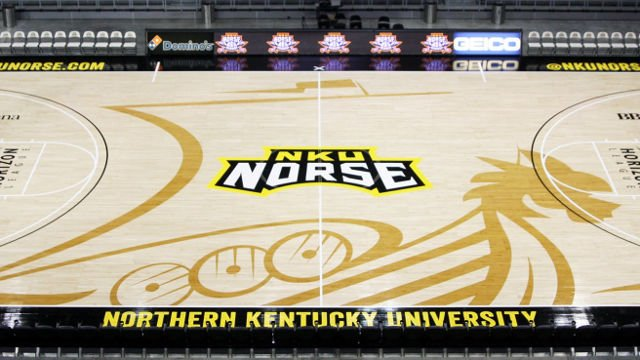 Nku 39 s new basketball court has a big viking ship on it for Cheapest way to make a basketball court