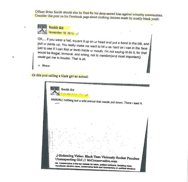 LMPD Officer Brian Smith's Facebook posts used in police investigation.