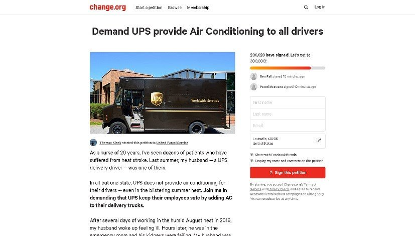 online petition asks ups to add air conditioning to delivery tru