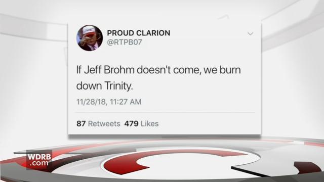 Screen shot of a Twitter threat to burn down Trinity High School.